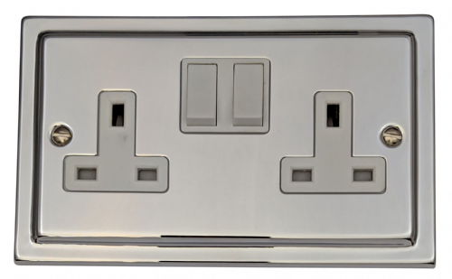 G&H TC10W Trimline Plate Polished Chrome 2 Gang Double 13A Switched Plug Socket